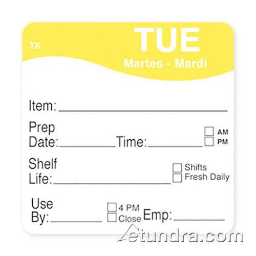 "DayMark - 1143682 - ToughMark 2"" x 2"" Tuesday Shelf Life Label"