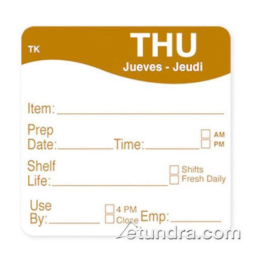 "DayMark - 1143684 - ToughMark 2"" x 2"" Thursday Shelf Life Label"