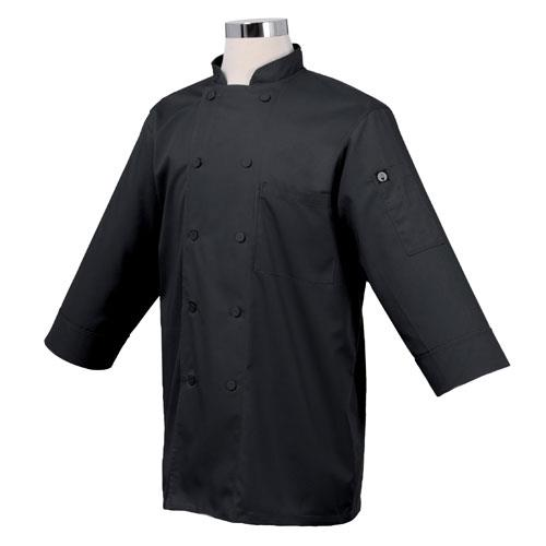 Chef Works JLCL-BLK Cool Vent Black 3/4 Sleeve Coat (S) for Restaurant Chef