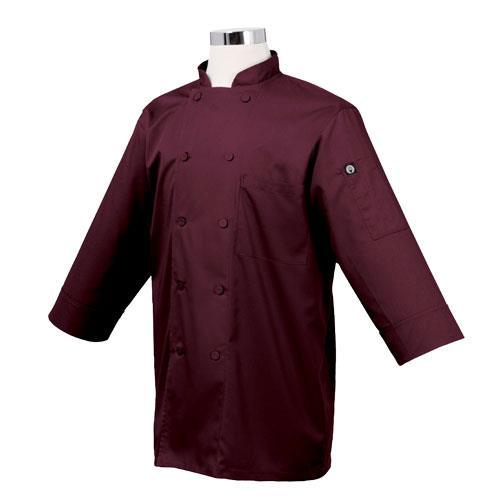 Chef Works JLCL-MER Cool Vent Merlot 3/4 Sleeve Coat (S) for Restaurant Chef