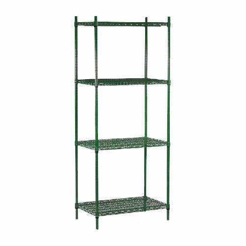 "Commercial - 14"" x 48"" 4 Shelf Epoxy Coated Shelving Unit"