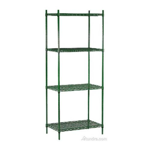 "Commercial - 14"" x 60"" 4 Shelf Epoxy Coated Shelving Unit"