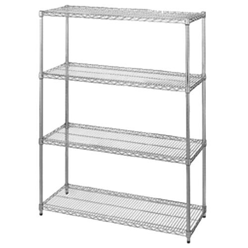 "Commercial - 14"" x 72"" 4 Shelf Chrome Plated Shelving Unit"
