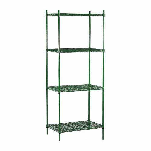 "Commercial - 14"" x 72"" 4 Shelf Epoxy Coated Shelving Unit"