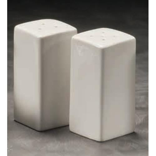 "American Metalcraft CSPS3 3 1/4"" Square Ceramic Salt & Pepper Set for Restaurant Chef"