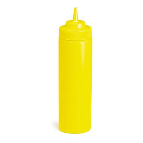Tablecraft 11253M-1 12 oz Yellow Wide Mouth Squeeze Bottle for Restaurant Chef