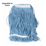 Winco - MOP-24 - 24 Oz Blue Looped End Mop Head image