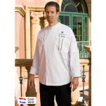 Chef Works - SILS-WET-L - Amalfi White/Black Chef Coat (L) image