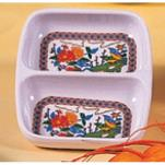 "Thunder Group - 1102TP - 2 3/4"" X 3 3/8"" Peacock Twin Sauce Dish image"