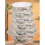 Thunder Group - 5085BB - 64 oz.  Blue Bamboo Chinese Noodle Bowl image