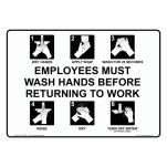Commercial - 7 in x 5 in Employee Hand Washing Sign image
