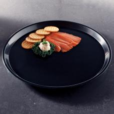 "16"" Black Round Deli Tray"