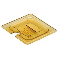 1/6 Size Amber H-Pan™ Notched Handled High Heat Food Pan Cover