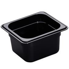 1/6 Size 4 in Deep Black H-Pan™ Food Pan