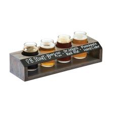 Write-On Gray Oak Wood Beer Flight Caddy