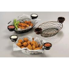 Oval Black Birdnest Basket with Ramekin Holders