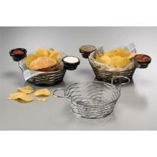Round Black Birdnest Basket with Ramekin Holders
