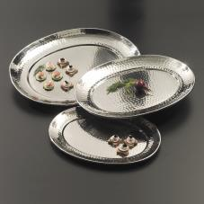 13 1/4 in x 17 1/4 in Oval Hammered Stainless Steel Tray