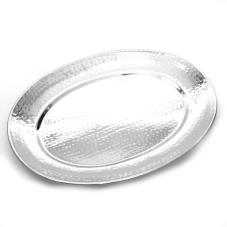 15 1/2 in x 20 in Oval Hammered Stainless Steel Tray