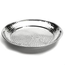 13 1/2 in Round Hammered Stainless Steel Tray