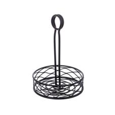 Small Round Black Birdnest Condiment Rack