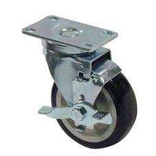 Heavy Duty Swivel Plate Caster w/ 4 in Wheel & Brake