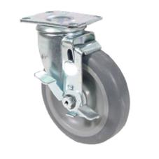 Extra Heavy Duty Swivel Plate Caster With 5 in Wheel and Brake