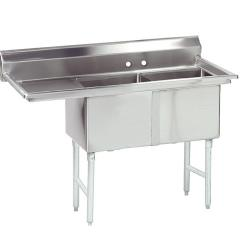 Advance Tabco - FC-2-1620-18L-X - 16 in x 20 in x 14 in 2 Compartment Sink w/ Left Drainboard image