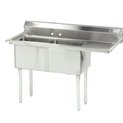 Advance Tabco - FE-2-1620-18R-X - 16 in x 20 in x 12 in 2-Compartment Sink w/ Right Drainboard image