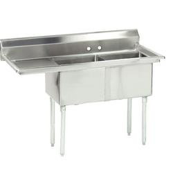 Advance Tabco - FE-2-2424-24L-X - 24 in x 24 in x 14 in 2 Compartment Sink w/ Left Drainboard image