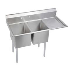 Elkay SSP - 2C18X18-R-24X - Standard 64 1/2 in Two Compartment Sink With Right 24 in Drainboard image