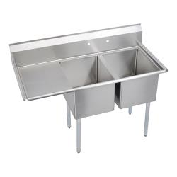 Elkay - E2C20X20-L-20X - 64 1/2 in Two Compartment Sink w/ Left Drainboard image
