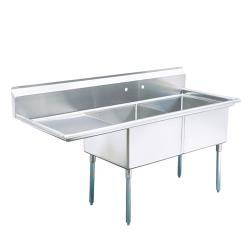 Turbo Air - TSA-2-L1 - 57 in Two Compartment Sink w/ 18 in Left Drainboard image