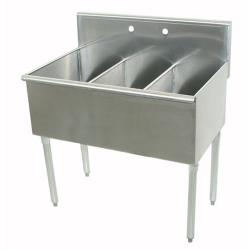 Advance Tabco - 4-3-36-X - 12 in x 21 in x 14 in 3-Compartment Utility Sink image