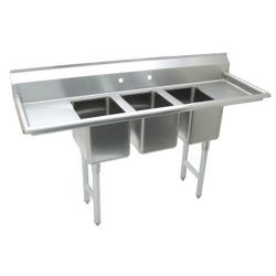 Advance Tabco - K7-CS-21-EC-X - 14 in x 10 in x 10 in 3 Compartment Sink w/ Left and Right Drainboards image