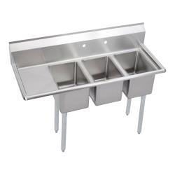 Elkay - 3C10X14-L-12X - Deli 48 1/2 in Three Compartment Sink With Left 12 in Drainboard image