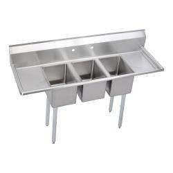 Elkay SSP - 3C12X16-2-12X - Deli 64 in Three Compartment Sink With Left And Right 12 in Drainboards image