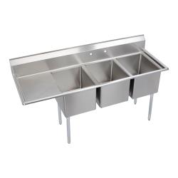 Elkay SSP - E3C20X20-L-20X - Economy 86 1/2 in Three Compartment Sink With Left 20 in Drainboard image