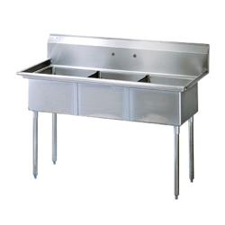 Turbo Air - TSA-3-N - 59 3/4 in Three Compartment Prep Sink image