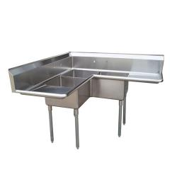 Turbo Air - TSA-3C-D1 - Corner Type Three Compartment Sink w/ 18 in Drainboards image