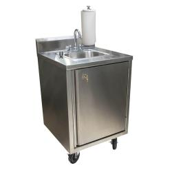 BK Resources - MHS-2424-CH-BKD - S/S Hot/Cold Mobile Hand Sink w/ Standard Faucet image