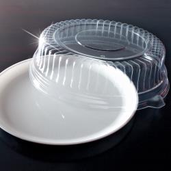 "EMI Yoshi - EMI-420CP - 12"" White Round Party Tray w/Clear Lid image"
