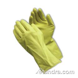 "PIP - 48-L185Y/M - 12"" Lined 18 mil Yellow Latex Gloves w/ Grip (M) image"