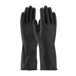 "PIP - 48-L300K/L - 13"" Lined Black Latex Gloves w/ Grip (L) image"
