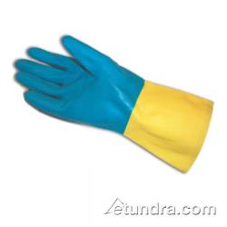 "PIP - 52-3670/XXL - 12"" Yellow 28 mil Latex Gloves w/ Blue Neoprene Coating (2XL) image"