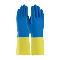 "PIP - 52-3672/S - 12"" Yellow 19 mil Latex Gloves w/ Blue Neoprene Coating (S) image"