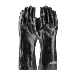 "PIP - 58-8040R - 14"" Lined Black PVC Coated Gloves w/ Grip (L) image"