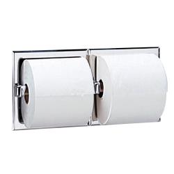 Bobrick - B-697 - Recessed Double Roll Toilet Tissue Dispenser with Bright Finish image