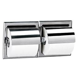 Bobrick - B-699 - Recessed Double Roll Toilet Tissue Dispenser w/Bright Finish & Hood image