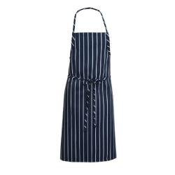 Chef Works - A100-NCS - Navy Chalk Stripe English Chef Apron image